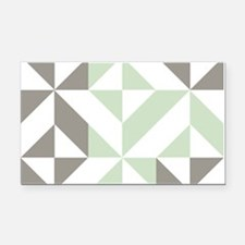 Sage Green and Silver Geometr Rectangle Car Magnet