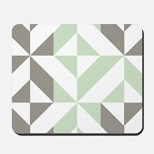 Sage Green and Silver Geometric Cube Pat Mousepad