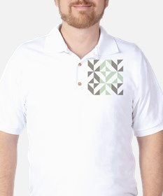Sage Green and Silver Geometric Cube Pa T-Shirt