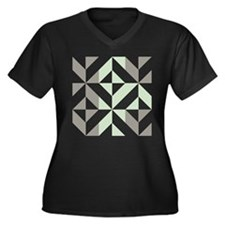 Sage Green a Women's Plus Size V-Neck Dark T-Shirt