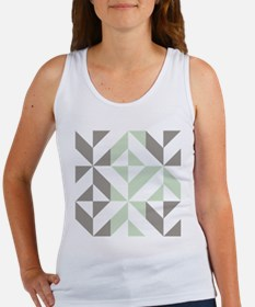 Sage Green and Silver Geometric C Women's Tank Top