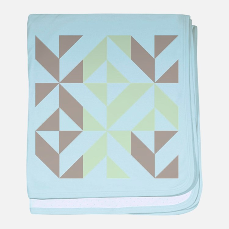 Sage Green and Silver Geometric Cube baby blanket