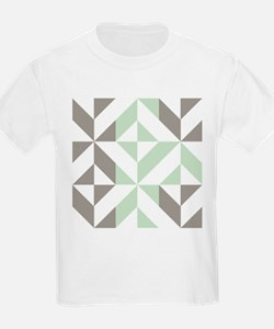 Sage Green and Silver Geometric T-Shirt