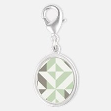 Sage Green and Silver Geometric Silver Oval Charm