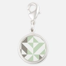 Sage Green and Silver Geometri Silver Round Charm