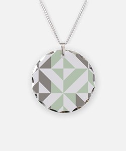 Sage Green and Silver Geomet Necklace