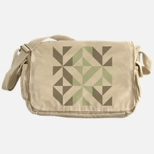 Sage Green and Silver Geometric Cube Messenger Bag