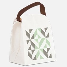 Sage Green and Silver Geometric C Canvas Lunch Bag