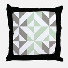 Sage Green and Silver Geometric Cube Throw Pillow