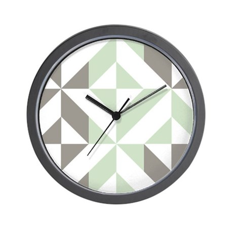 Sage Green And Silver Geometric Cube Pa Wall Clock By