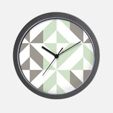 Sage Green and Silver Geometric Cube Pa Wall Clock