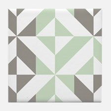 Sage Green and Silver Geometric Cube Tile Coaster