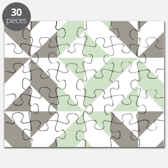 Sage Green and Silver Geometric Cube Patter Puzzle