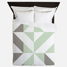 Sage Green and Silver Geometric Cube P Queen Duvet