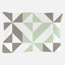 Sage Green and Silver Geometric Cube P Pillow Case