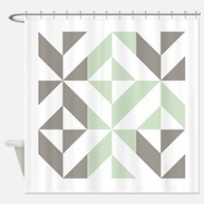 Sage Green and Silver Geometric Cub Shower Curtain