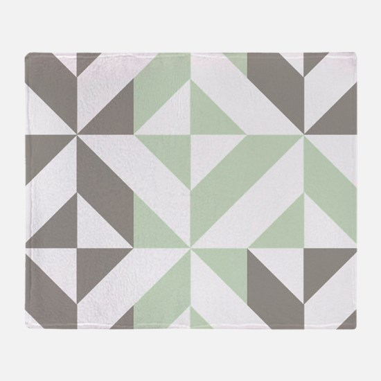 Sage Green and Silver Geometric Cube Throw Blanket