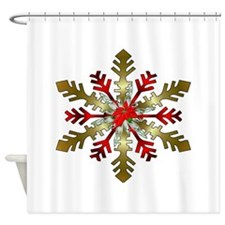 Gold and Red Snowflake Shower Curtain
