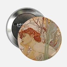 """Mucha - Art Nouveau In The Garden 2.25"""" Button (10"""