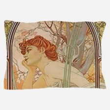 Mucha - Art Nouveau In The Garden Pillow Case