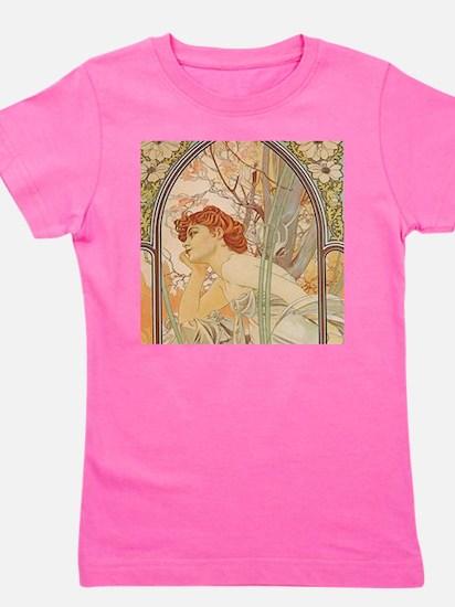 Mucha - Art Nouveau In The Garden Girl's Tee