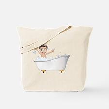 A little boy at the bathtub Tote Bag