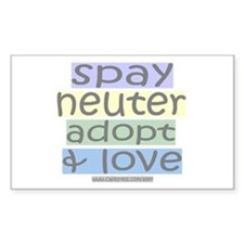 Spay/Neuter/Adopt/Love Rectangle Decal