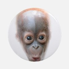 Funny Baby Orangutan Face Ornament (Round)