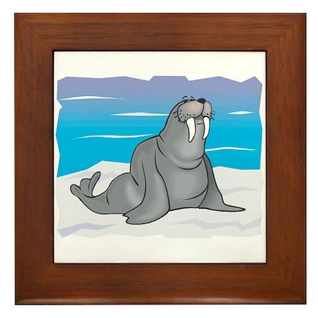 Cute Grey Walrus in Snow Framed Tile