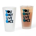 YOLO Blue Drinking Glass