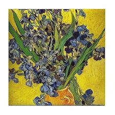 van gogh irises in vase Tile Coaster