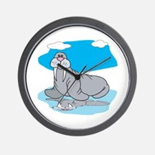 Cute Grey Walrus Wall Clock
