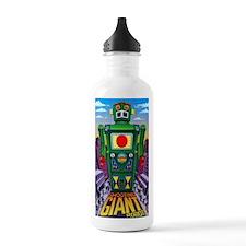 vintage green robot Sports Water Bottle