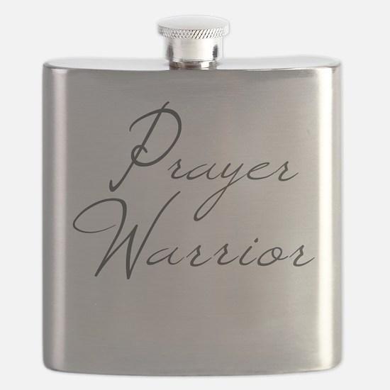 Prayer Warrior in black typography Flask