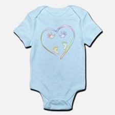 Sweet Pastel Baby Hands and Feet in Heart Body Sui