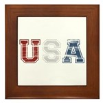 Distressed USA Country Logo Framed Tile
