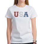 Distressed USA Country Logo Women's T-Shirt