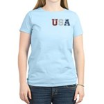 Distressed USA Country Logo Women's Light T-Shirt