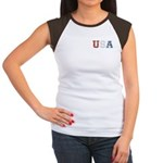 Distressed USA Country Logo Women's Cap Sleeve T-S