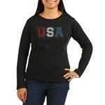 Distressed USA Country Logo Women's Long Sleeve Da