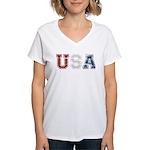 Distressed USA Country Logo Women's V-Neck T-Shirt