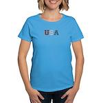 Distressed USA Country Logo Women's Dark T-Shirt