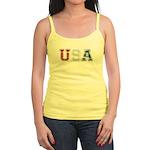 Distressed USA Country Logo Jr. Spaghetti Tank