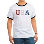 Distressed USA Country Logo Ringer T