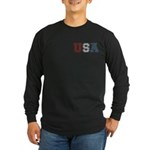 Distressed USA Country Logo Long Sleeve Dark T-Shi
