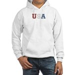 Distressed USA Country Logo Hooded Sweatshirt