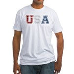 Distressed USA Country Logo Fitted T-Shirt