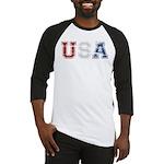 Distressed USA Country Logo Baseball Jersey