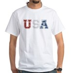 Distressed USA Country Logo White T-Shirt