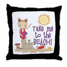 To the Beach (Girl) Throw Pillow